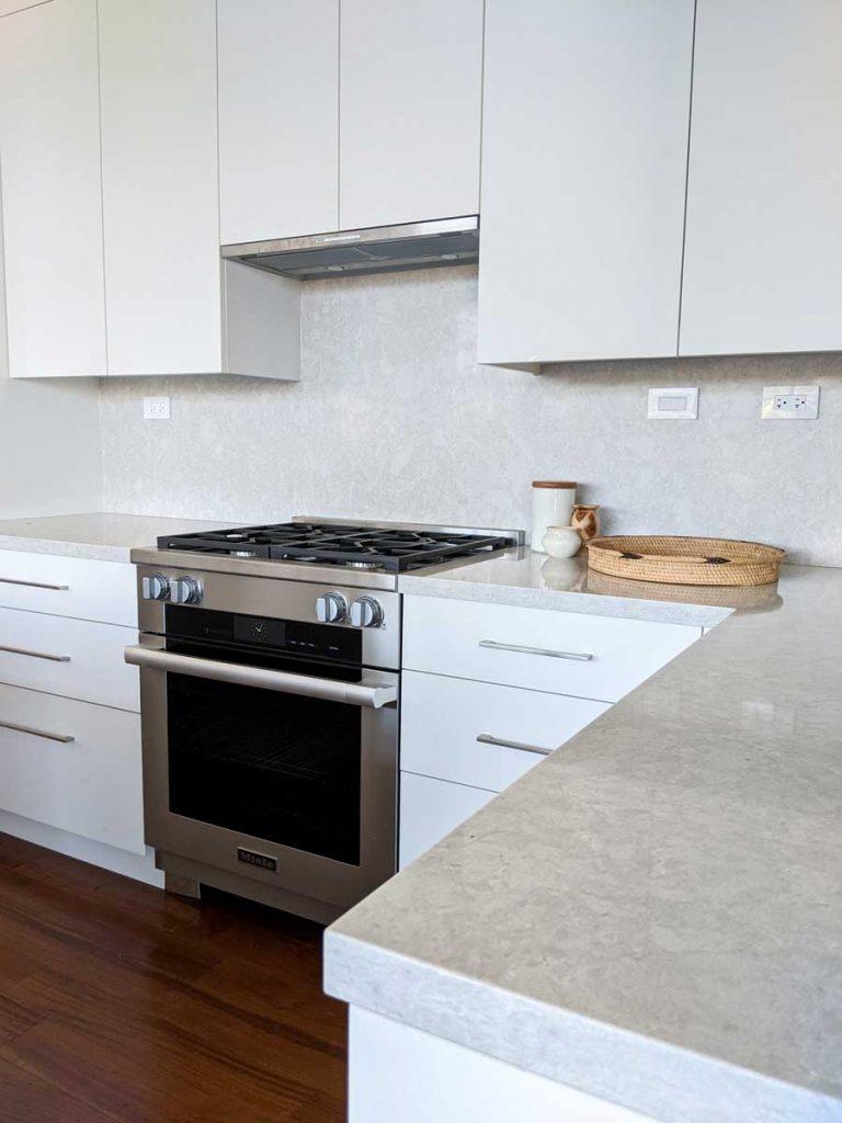 minimalist modern white kitchen renovation